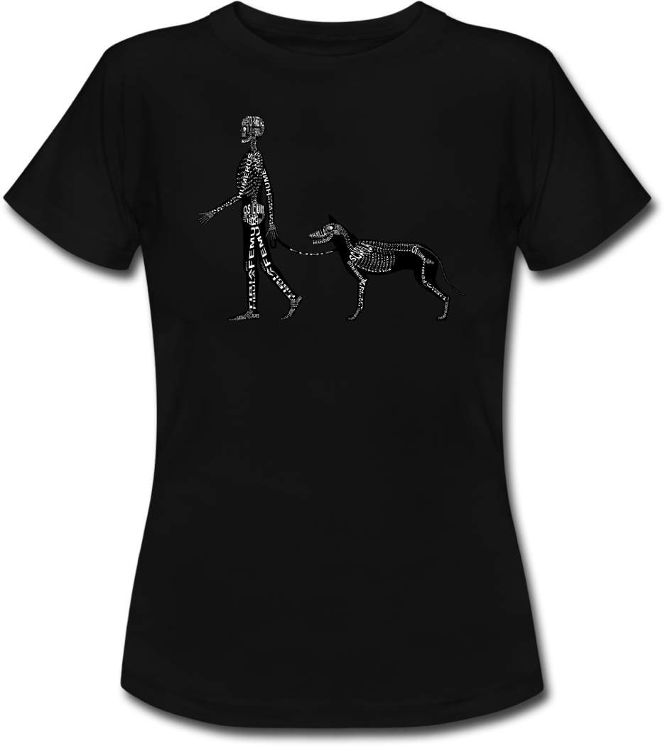 Shirt with human and dog skeleton for doctors and medical students - Word Anatomy
