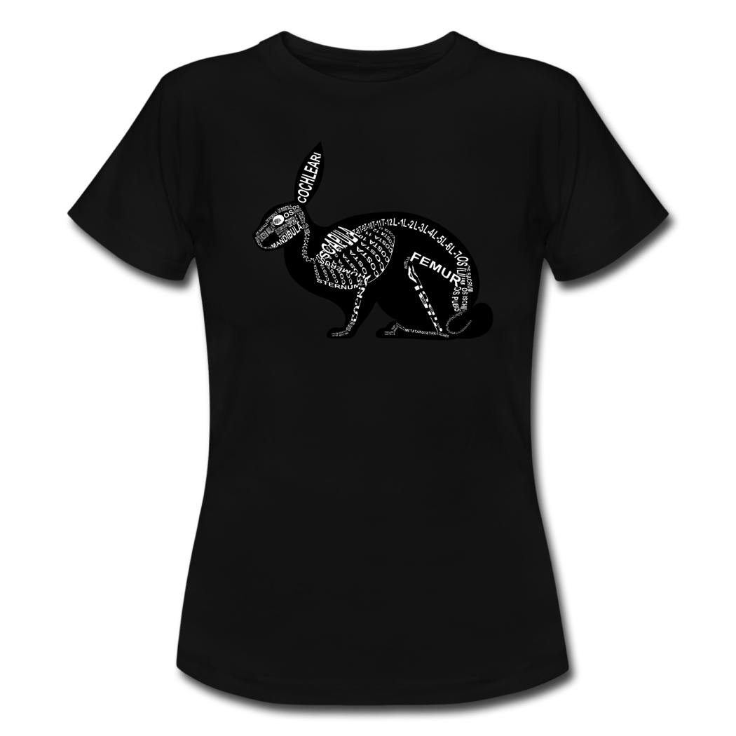 Shirt with rabbit skeleton and medical term of the bones for vets and medical or veterinarian students - Word Anatomy