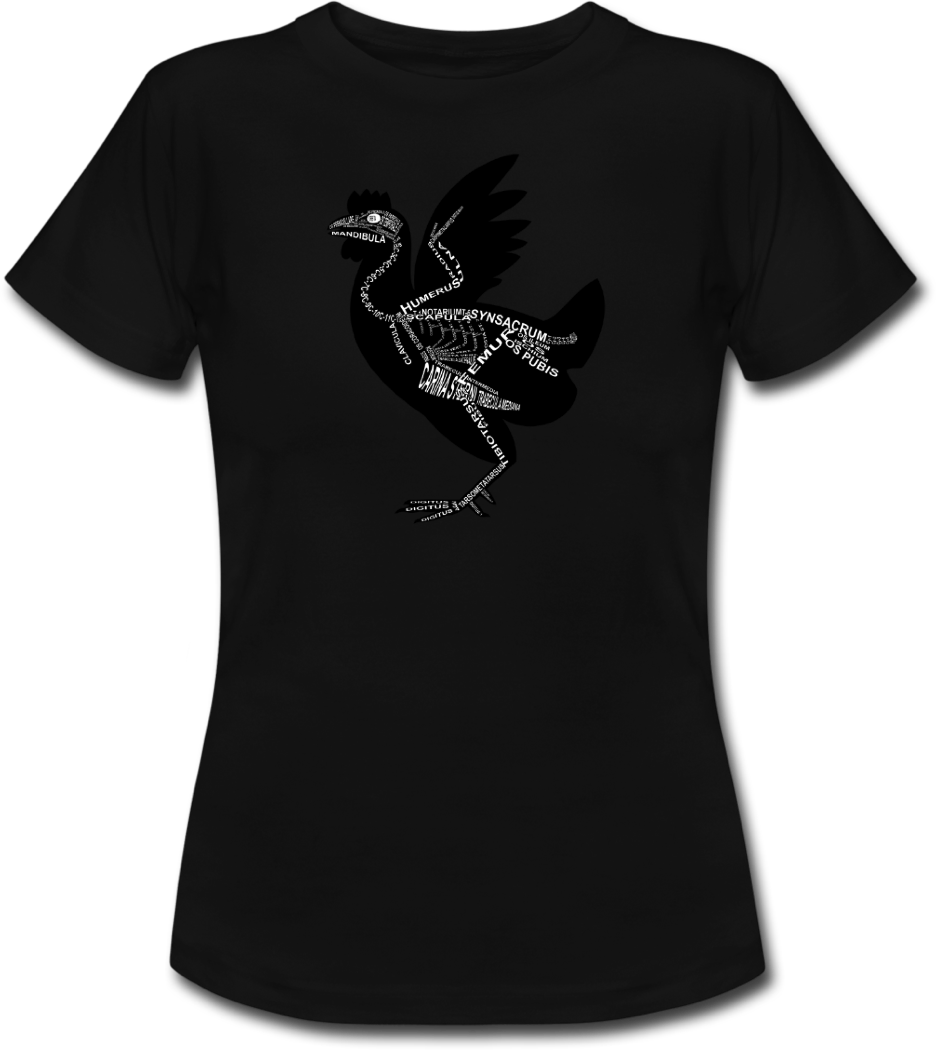 Shirt with chicken skeleton and medical term of the bones for vets and medical or veterinarian students - Word Anatomy