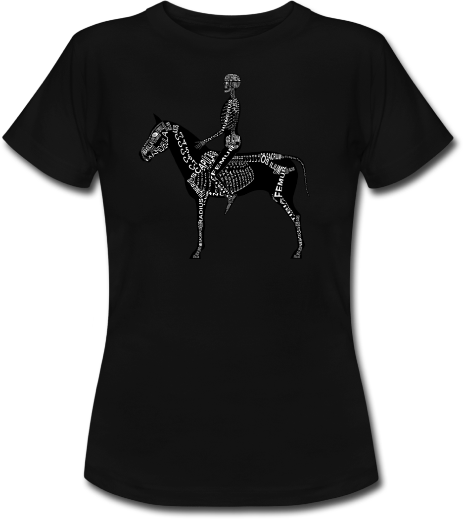 Shirt with human and horse skeleton for doctors, vets and medical students - Word Anatomy