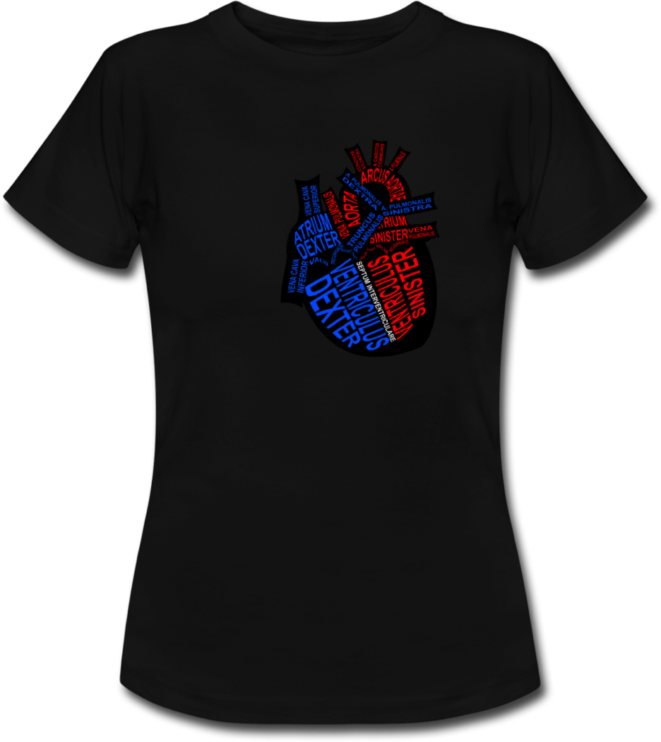 Shirt with human heart for doctors and medical students - Word Anatomy