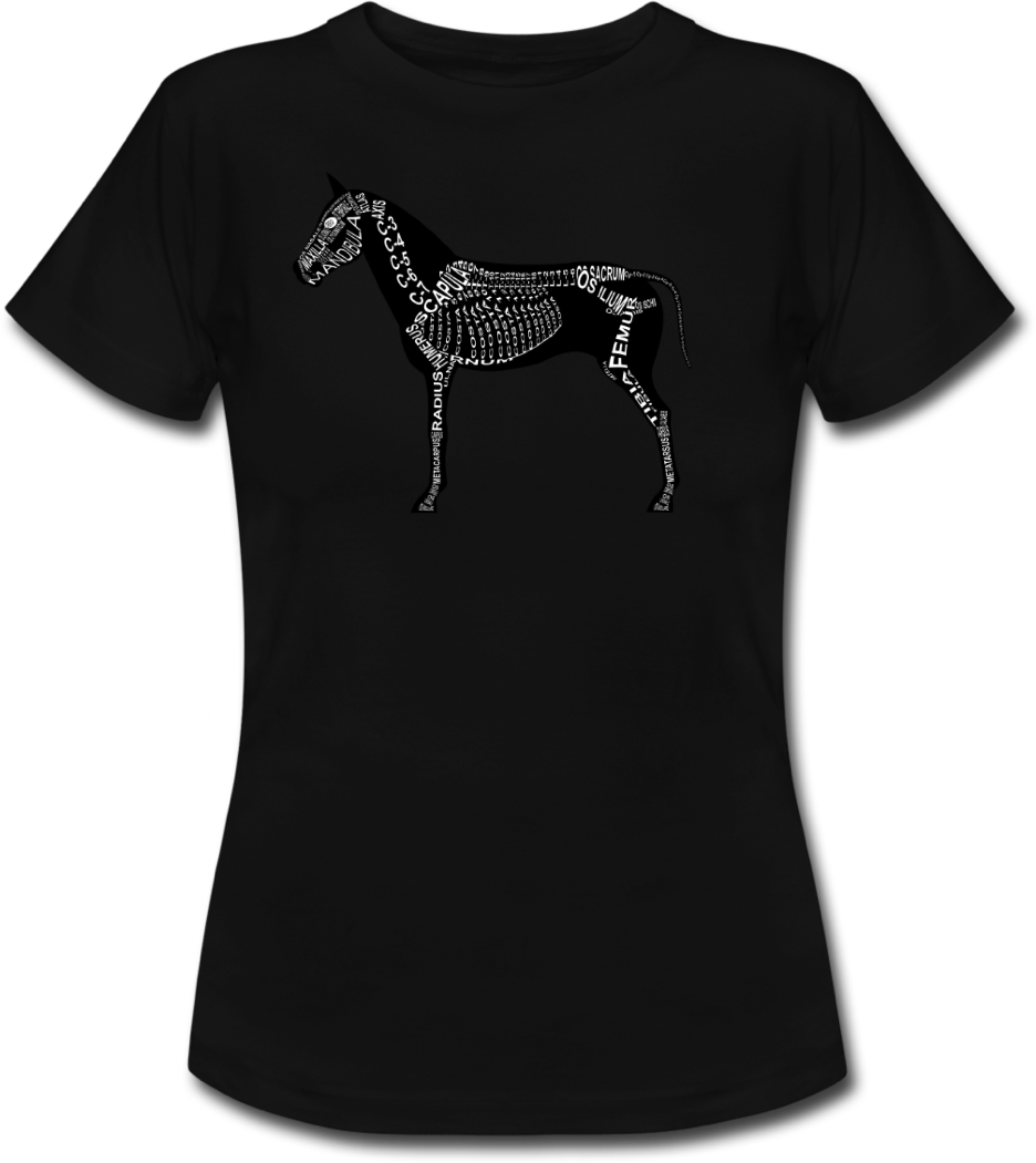Shirt with horse skeleton and medical term of the bones for vets and medical or veterinarian students - Word Anatomy
