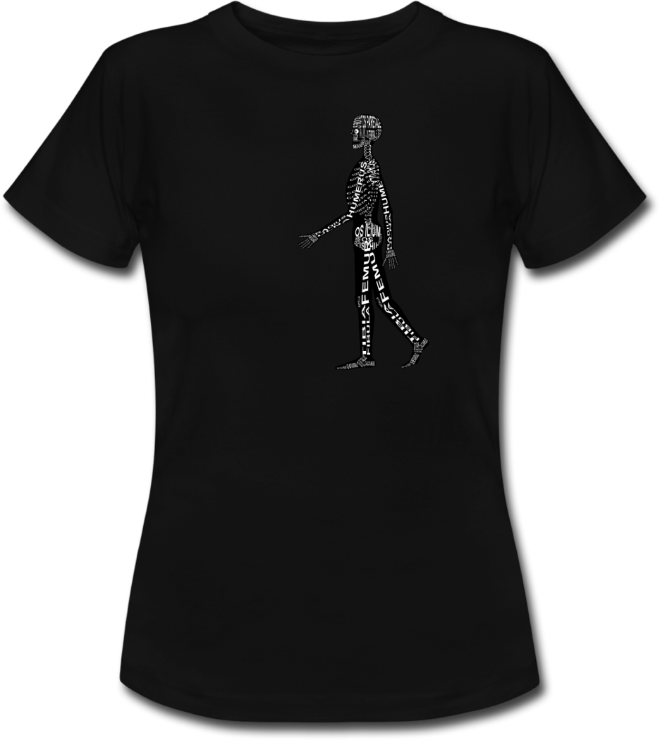 Shirt with human skeleton for doctors and medical students - Word Anatomy
