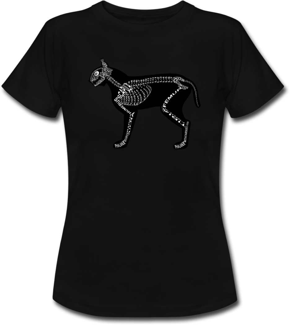 Shirt with lynx skeleton and medical term of the bones for vets and medical or veterinarian students - Word Anatomy