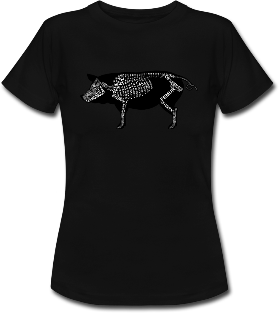 Shirt with pig skeleton and medical term of the bones for vets and medical or veterinarian students - Word Anatomy