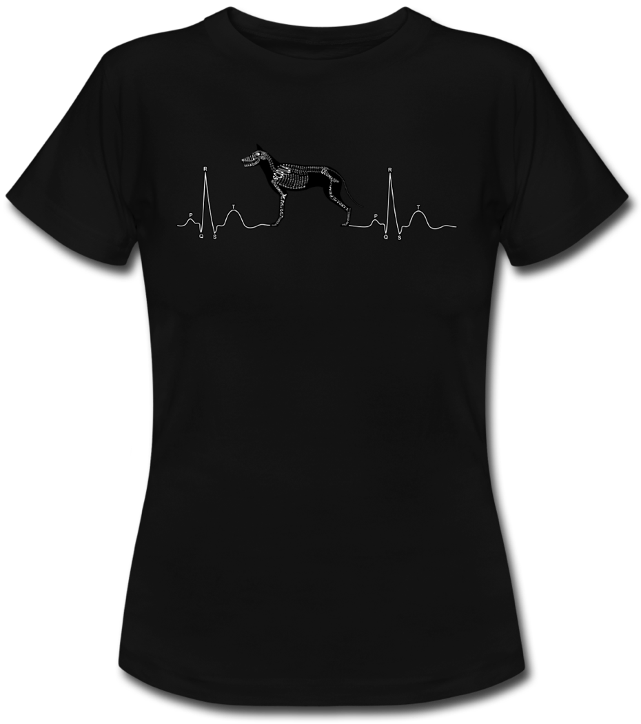 Shirt with ECG and Dog-Skeleton for vets and veterinary students - Word Anatomy